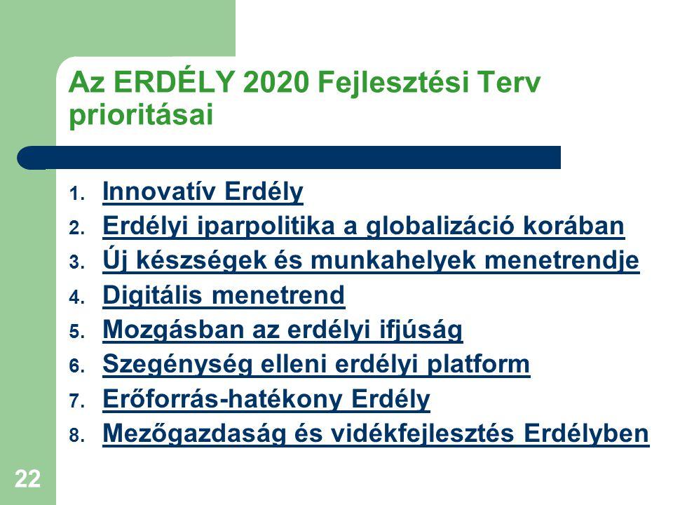 22 Az ERDÉLY 2020 Fejlesztési Terv prioritásai 1. Innovatív Erdély Innovatív Erdély 2.