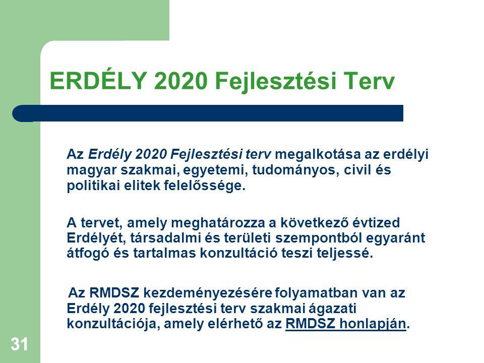 31 ERDÉLY 2020 Fejlesztési Terv Az Erdély 2020 Fejlesztési terv megalkotása az erdélyi magyar szakmai, egyetemi, tudományos, civil és politikai elitek felelőssége.