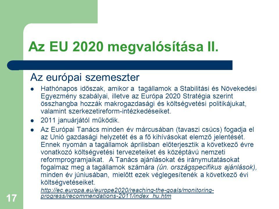 17 Az EU 2020 megvalósítása II.