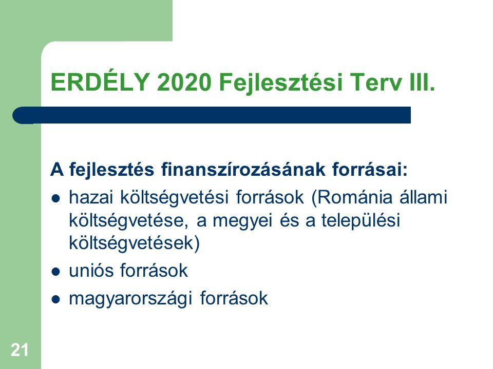 21 ERDÉLY 2020 Fejlesztési Terv III.