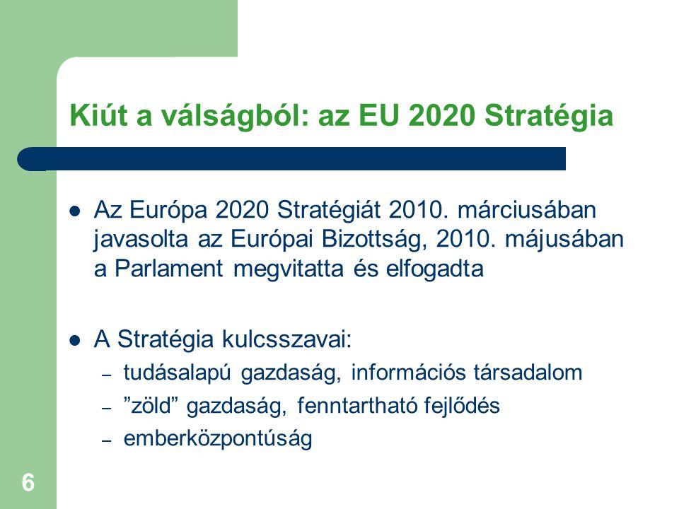 6 Kiút a válságból: az EU 2020 Stratégia Az Európa 2020 Stratégiát 2010.