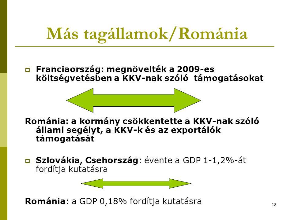 18 Más tagállamok/Románia  Franciaország: megnövelték a 2009-es költségvetésben a KKV-nak szóló támogatásokat Románia: a kormány csökkentette a KKV-nak szóló állami segélyt, a KKV-k és az exportálók támogatását  Szlovákia, Csehország: évente a GDP 1-1,2%-át fordítja kutatásra Románia: a GDP 0,18% fordítja kutatásra