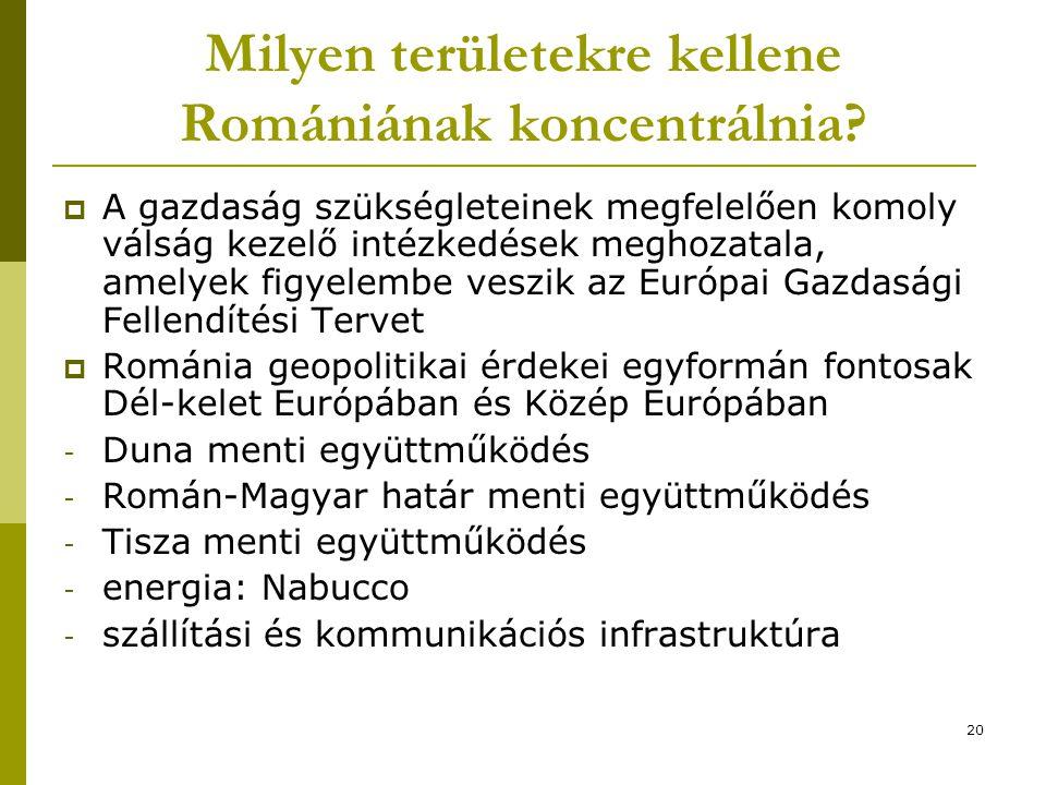 20 Milyen területekre kellene Romániának koncentrálnia?  A gazdaság szükségleteinek megfelelően komoly válság kezelő intézkedések meghozatala, amelye
