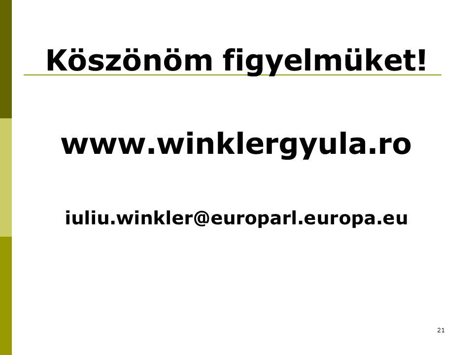 21 Köszönöm figyelmüket! www.winklergyula.ro iuliu.winkler@europarl.europa.eu
