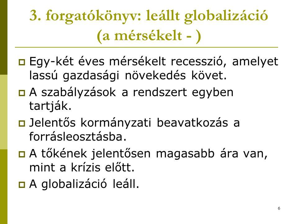 6 3. forgatókönyv: leállt globalizáció (a mérsékelt - )  Egy-két éves mérsékelt recesszió, amelyet lassú gazdasági növekedés követ.  A szabályzások