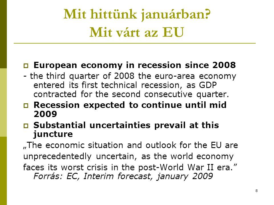 8 Mit hittünk januárban? Mit várt az EU  European economy in recession since 2008 - the third quarter of 2008 the euro-area economy entered its first