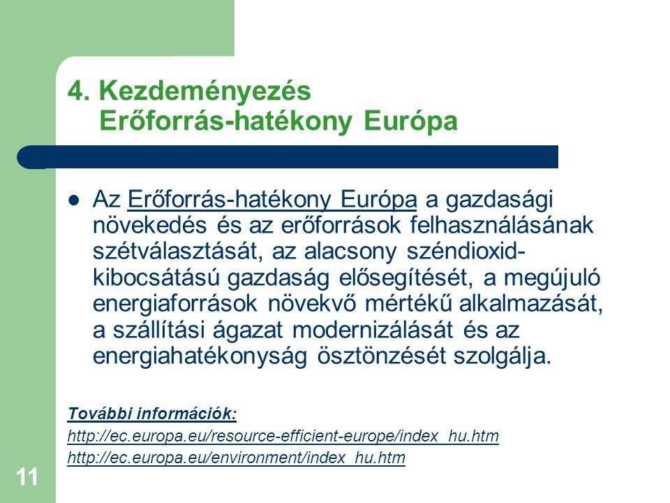 11 4. Kezdeményezés Erőforrás-hatékony Európa Az Erőforrás-hatékony Európa a gazdasági növekedés és az erőforrások felhasználásának szétválasztását, a