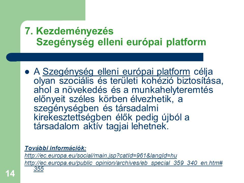 14 7. Kezdeményezés Szegénység elleni európai platform A Szegénység elleni európai platform célja olyan szociális és területi kohézió biztosítása, aho