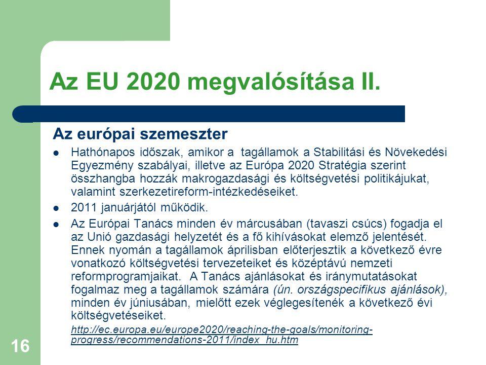 16 Az EU 2020 megvalósítása II. Az európai szemeszter Hathónapos időszak, amikor a tagállamok a Stabilitási és Növekedési Egyezmény szabályai, illetve