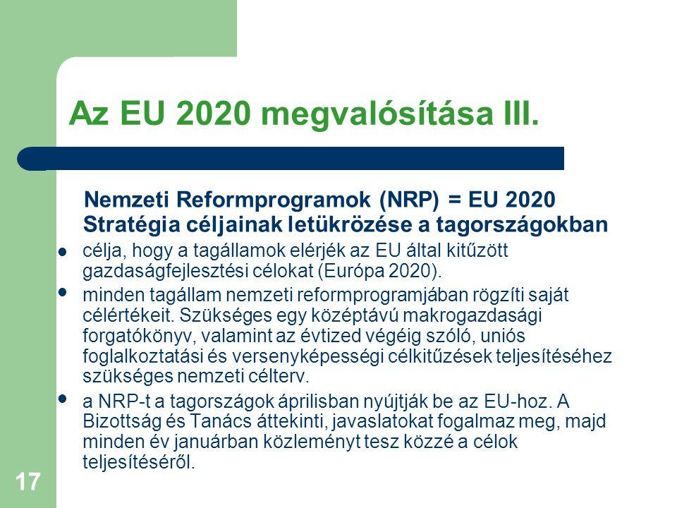 17 Az EU 2020 megvalósítása III. Nemzeti Reformprogramok (NRP) = EU 2020 Stratégia céljainak letükrözése a tagországokban célja, hogy a tagállamok elé