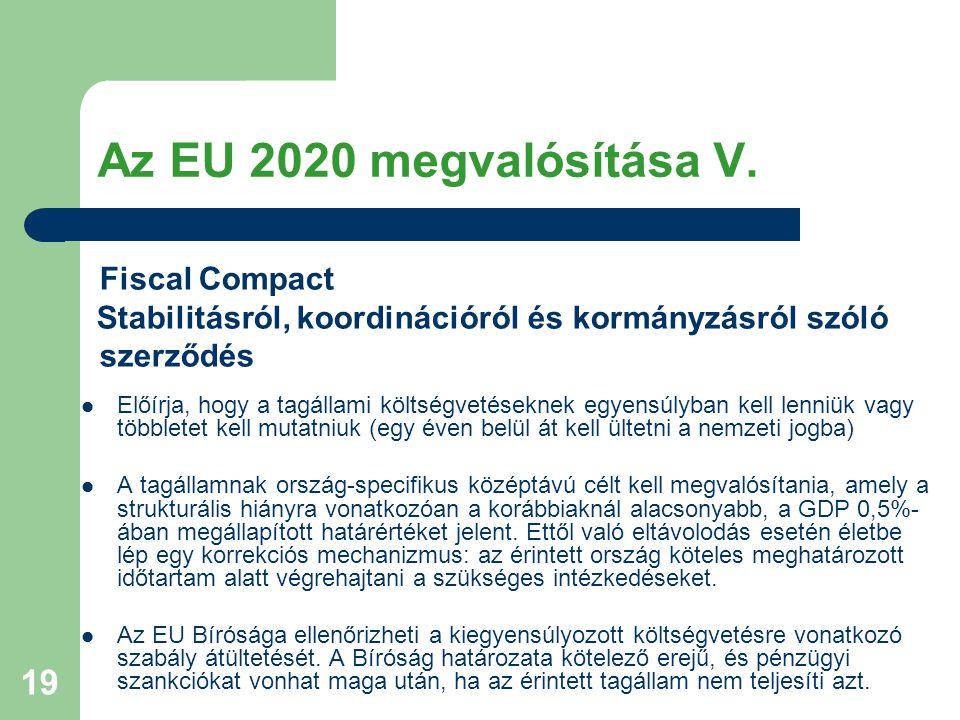 19 Az EU 2020 megvalósítása V. Fiscal Compact Stabilitásról, koordinációról és kormányzásról szóló szerződés Előírja, hogy a tagállami költségvetésekn