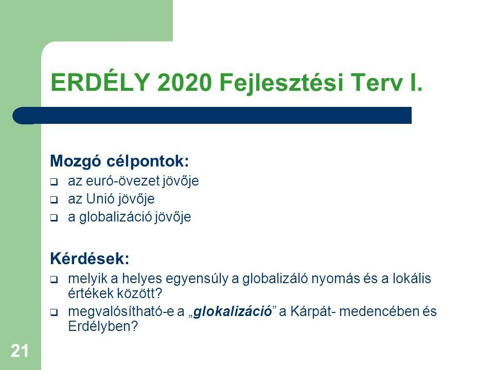 21 ERDÉLY 2020 Fejlesztési Terv I. Mozgó célpontok:  az euró-övezet jövője  az Unió jövője  a globalizáció jövője Kérdések:  melyik a helyes egyen