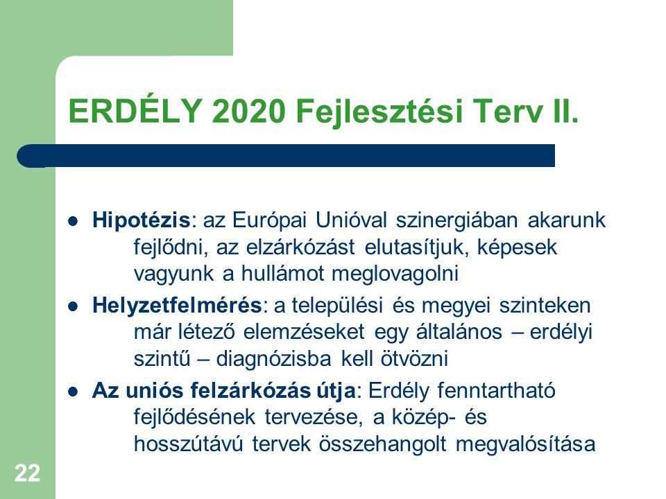 22 ERDÉLY 2020 Fejlesztési Terv II. Hipotézis: az Európai Unióval szinergiában akarunk fejlődni, az elzárkózást elutasítjuk, képesek vagyunk a hullámo