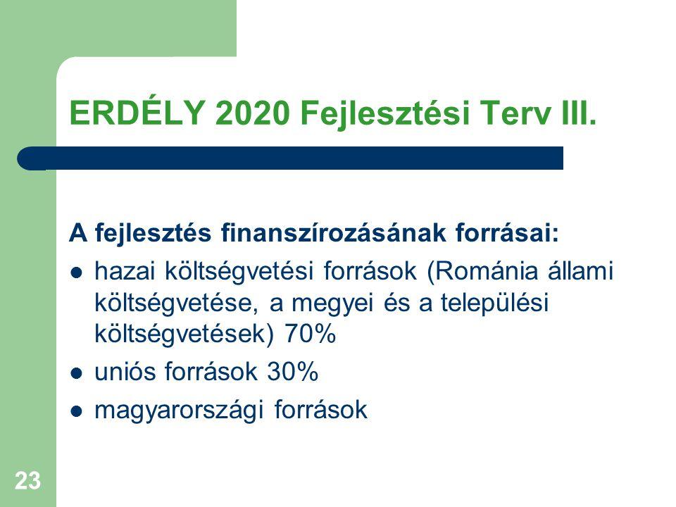 23 ERDÉLY 2020 Fejlesztési Terv III. A fejlesztés finanszírozásának forrásai: hazai költségvetési források (Románia állami költségvetése, a megyei és