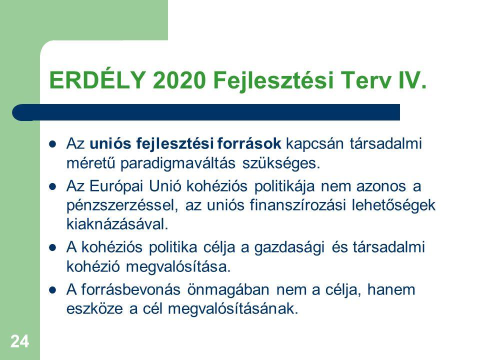 24 ERDÉLY 2020 Fejlesztési Terv IV. Az uniós fejlesztési források kapcsán társadalmi méretű paradigmaváltás szükséges. Az Európai Unió kohéziós politi