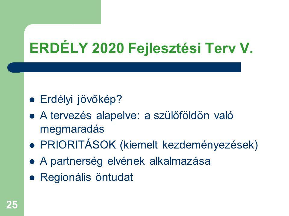 25 ERDÉLY 2020 Fejlesztési Terv V. Erdélyi jövőkép? A tervezés alapelve: a szülőföldön való megmaradás PRIORITÁSOK (kiemelt kezdeményezések) A partner