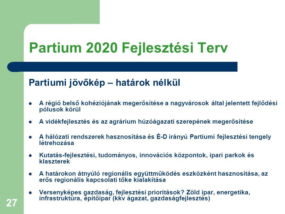 27 Partium 2020 Fejlesztési Terv Partiumi jövőkép – határok nélkül A régió belső kohéziójának megerősítése a nagyvárosok által jelentett fejlődési pól