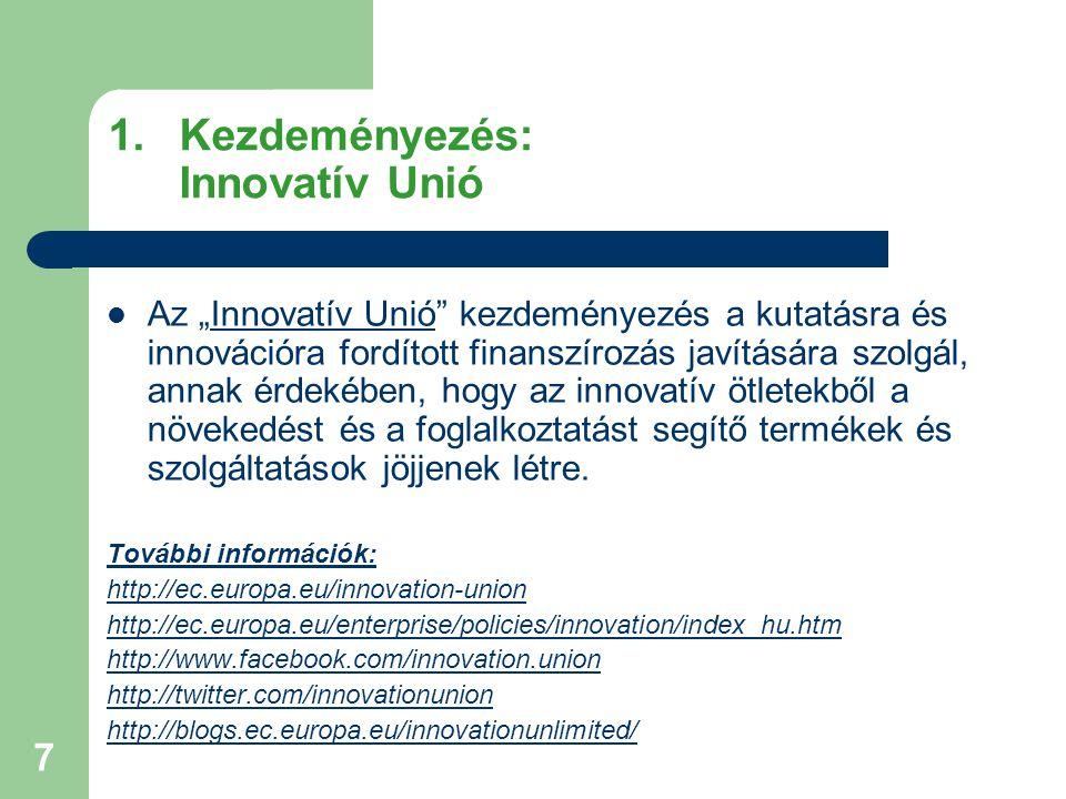 """7 1.Kezdeményezés: Innovatív Unió Az """"Innovatív Unió kezdeményezés a kutatásra és innovációra fordított finanszírozás javítására szolgál, annak érdekében, hogy az innovatív ötletekből a növekedést és a foglalkoztatást segítő termékek és szolgáltatások jöjjenek létre."""