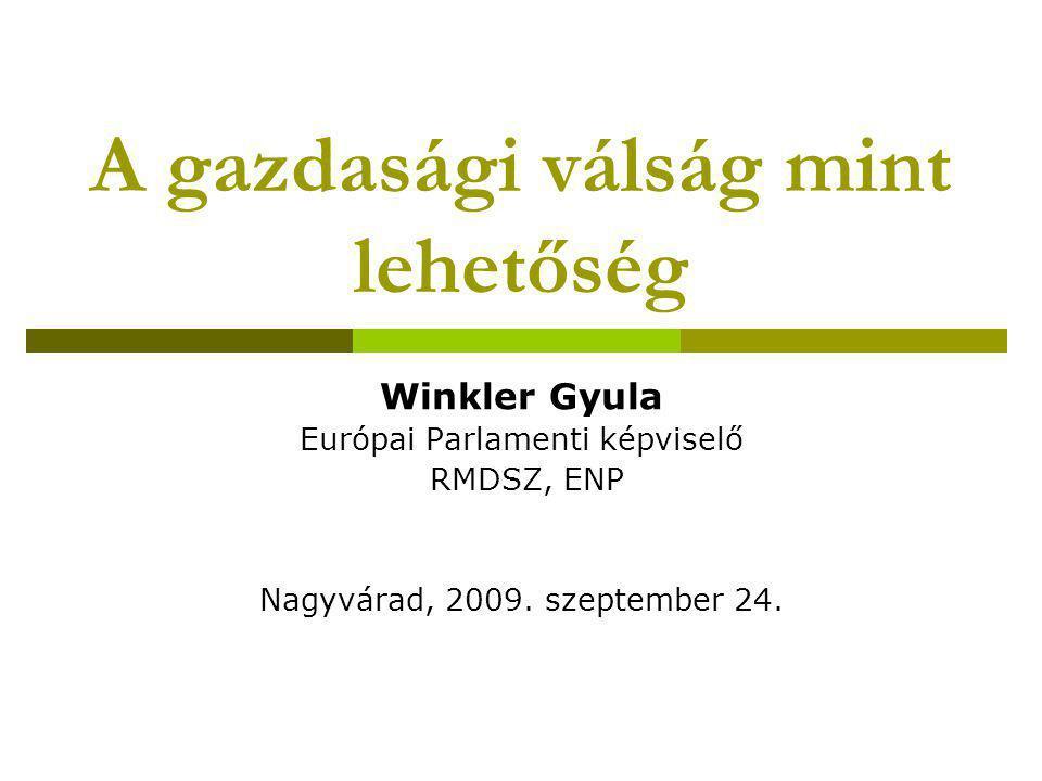A gazdasági válság mint lehetőség Winkler Gyula Európai Parlamenti képviselő RMDSZ, ENP Nagyvárad, 2009. szeptember 24.