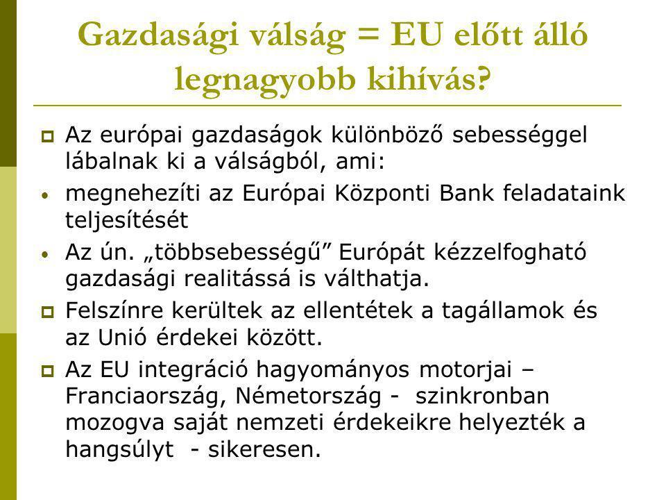 Gazdasági válság = EU előtt álló legnagyobb kihívás?  Az európai gazdaságok különböző sebességgel lábalnak ki a válságból, ami: megnehezíti az Európa