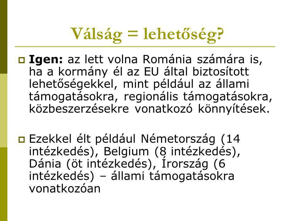 Válság = lehetőség?  Igen: az lett volna Románia számára is, ha a kormány él az EU által biztosított lehetőségekkel, mint például az állami támogatás