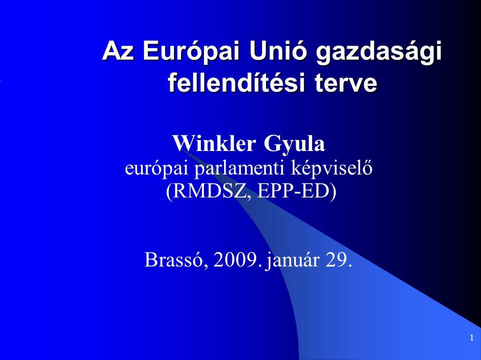 1 Az Európai Unió gazdasági fellendítési terve Winkler Gyula európai parlamenti képviselő (RMDSZ, EPP-ED) Brassó, 2009. január 29.