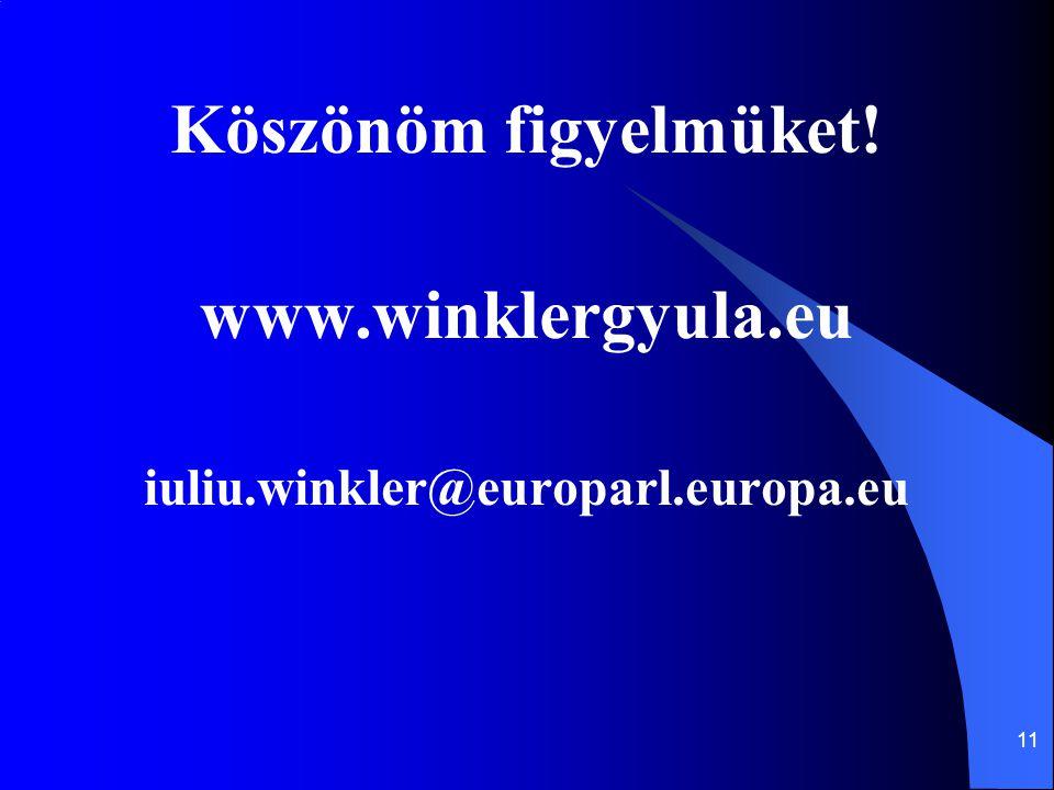 11 Köszönöm figyelmüket! www.winklergyula.eu iuliu.winkler@europarl.europa.eu