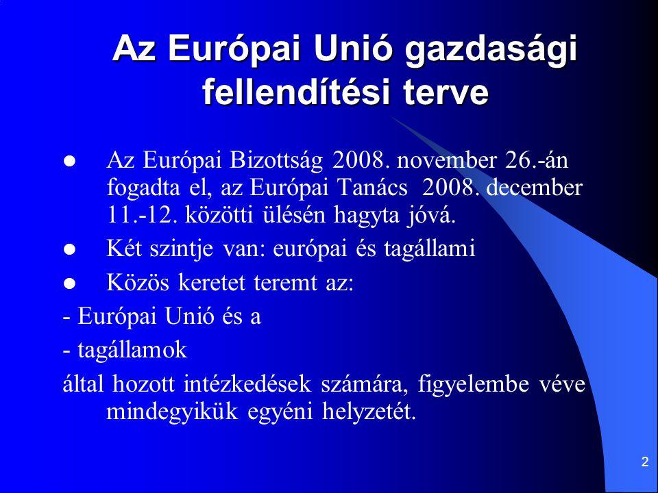2 Az Európai Unió gazdasági fellendítési terve Az Európai Bizottság 2008. november 26.-án fogadta el, az Európai Tanács 2008. december 11.-12. közötti