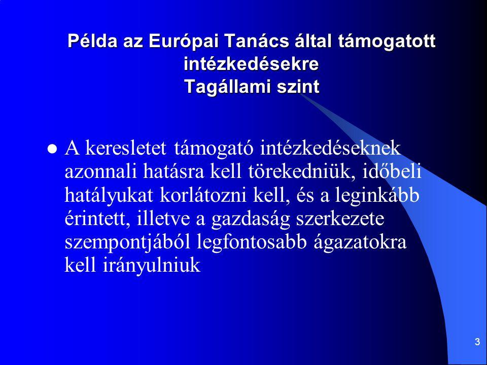 3 Példa az Európai Tanács által támogatott intézkedésekre Tagállami szint A keresletet támogató intézkedéseknek azonnali hatásra kell törekedniük, idő