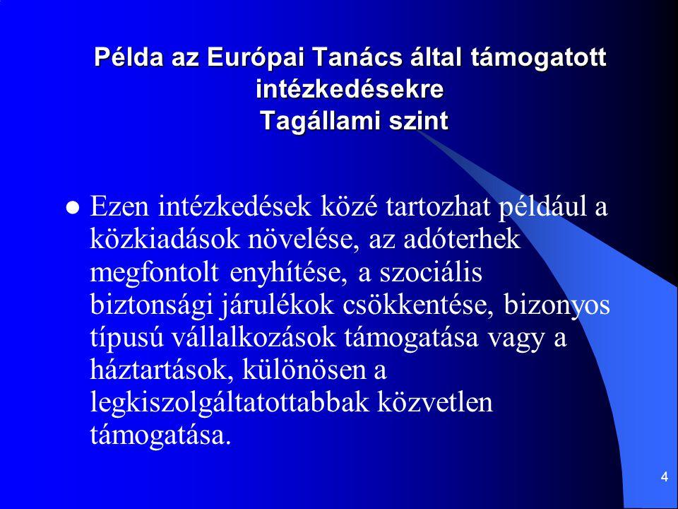 4 Példa az Európai Tanács által támogatott intézkedésekre Tagállami szint Ezen intézkedések közé tartozhat például a közkiadások növelése, az adóterhe