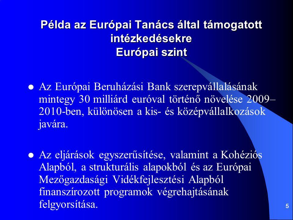 5 Példa az Európai Tanács által támogatott intézkedésekre Európai szint Az Európai Beruházási Bank szerepvállalásának mintegy 30 milliárd euróval történő növelése 2009– 2010-ben, különösen a kis- és középvállalkozások javára.