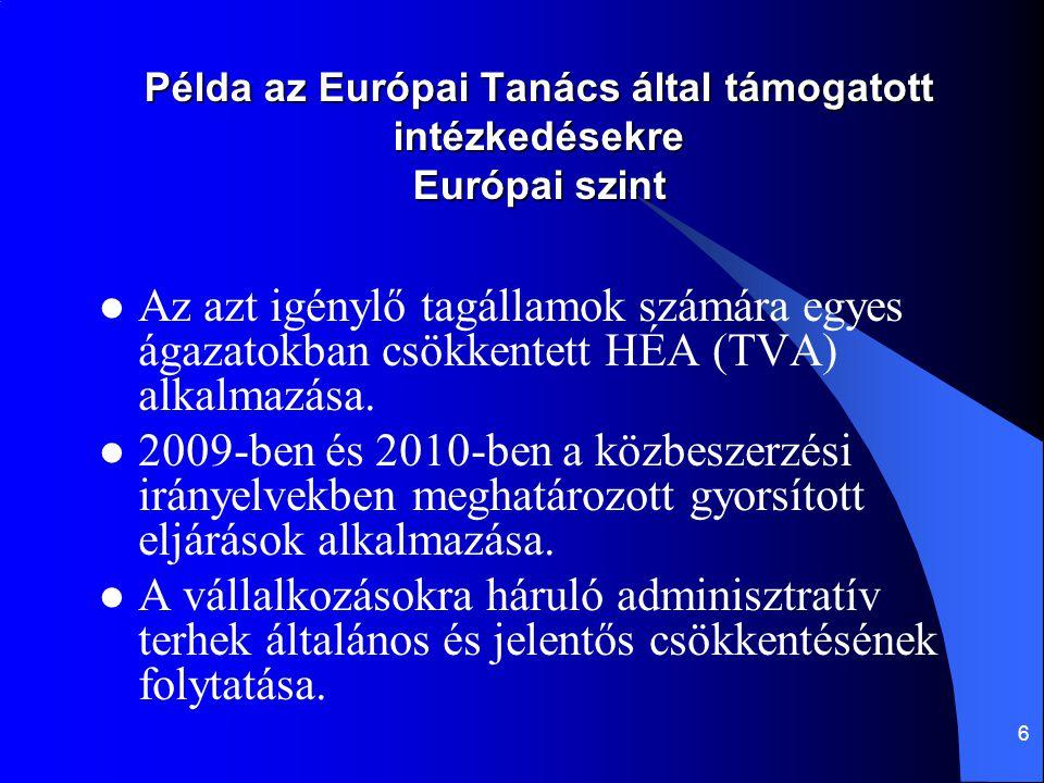 6 Példa az Európai Tanács által támogatott intézkedésekre Európai szint Az azt igénylő tagállamok számára egyes ágazatokban csökkentett HÉA (TVA) alka