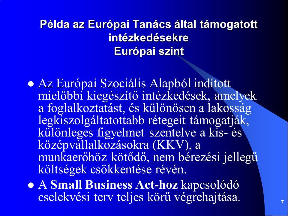 7 Példa az Európai Tanács által támogatott intézkedésekre Európai szint Az Európai Szociális Alapból indított mielőbbi kiegészítő intézkedések, amelye