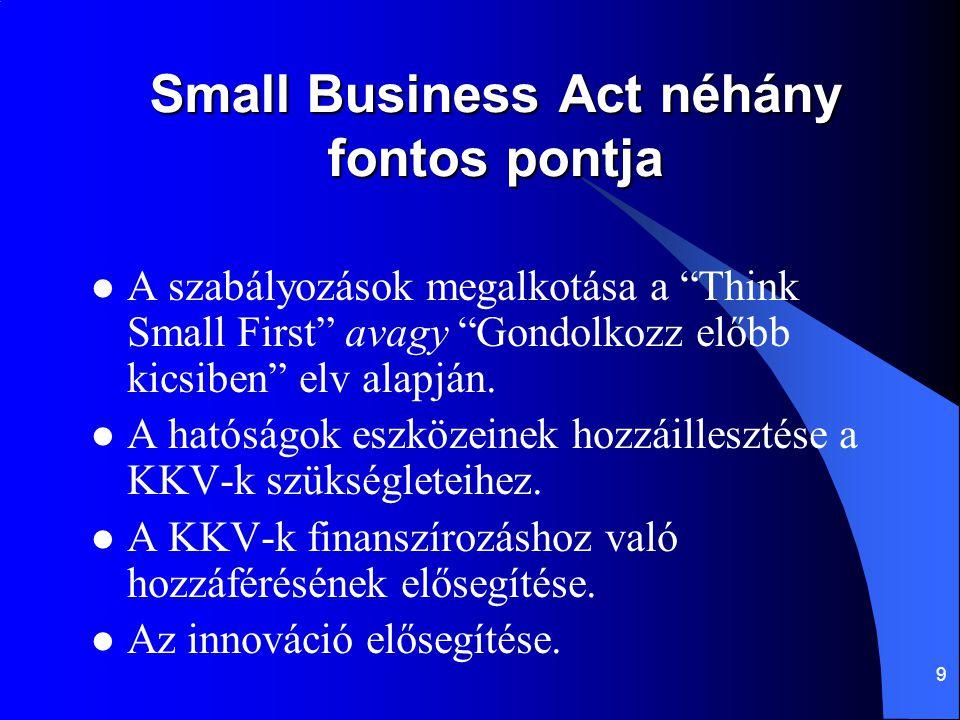 9 Small Business Act néhány fontos pontja A szabályozások megalkotása a Think Small First avagy Gondolkozz előbb kicsiben elv alapján.