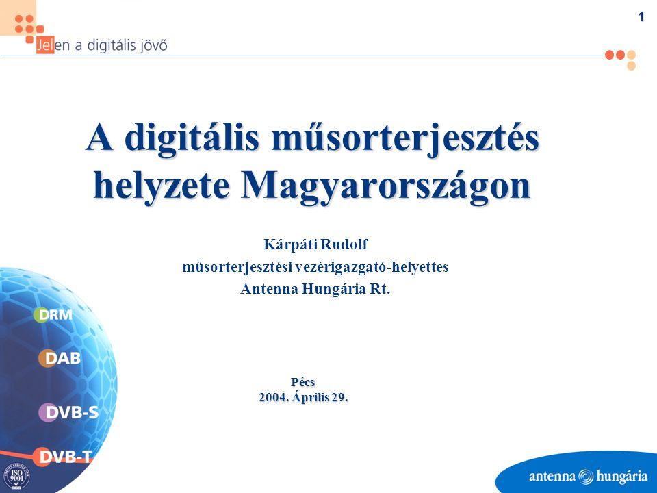 1 A digitális műsorterjesztés helyzete Magyarországon Kárpáti Rudolf műsorterjesztési vezérigazgató-helyettes Antenna Hungária Rt.