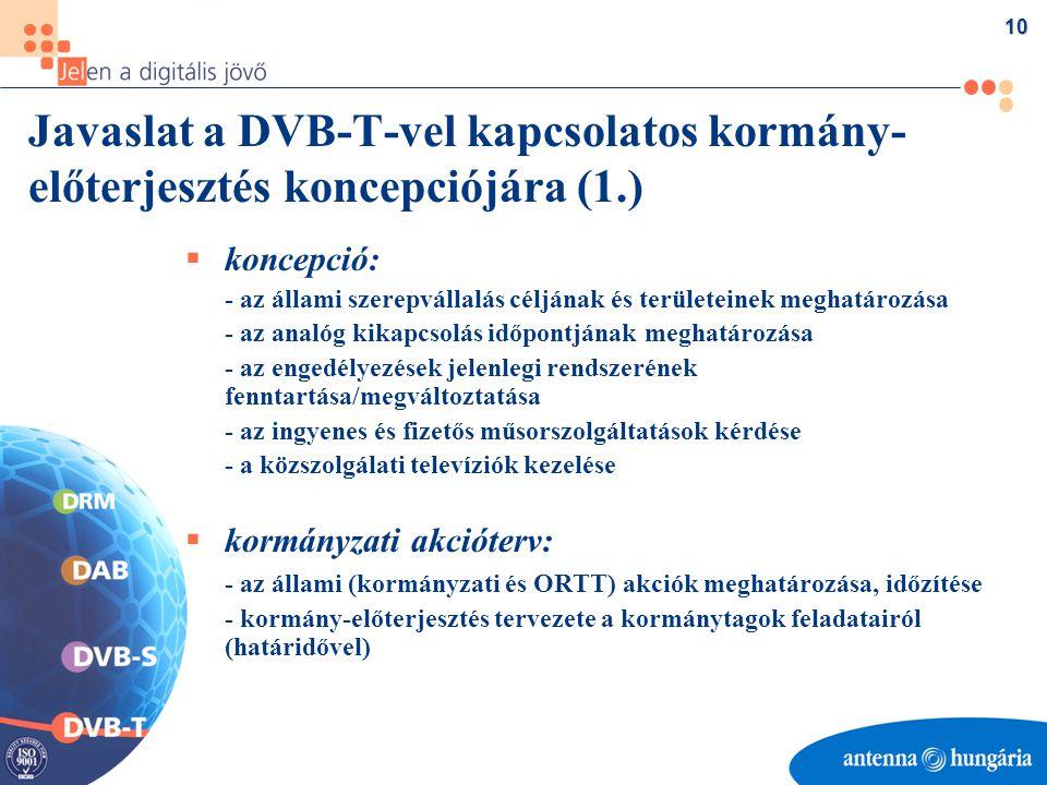 10 Javaslat a DVB-T-vel kapcsolatos kormány- előterjesztés koncepciójára (1.)  koncepció: - az állami szerepvállalás céljának és területeinek meghatározása - az analóg kikapcsolás időpontjának meghatározása - az engedélyezések jelenlegi rendszerének fenntartása/megváltoztatása - az ingyenes és fizetős műsorszolgáltatások kérdése - a közszolgálati televíziók kezelése  kormányzati akcióterv: - az állami (kormányzati és ORTT) akciók meghatározása, időzítése - kormány-előterjesztés tervezete a kormánytagok feladatairól (határidővel)