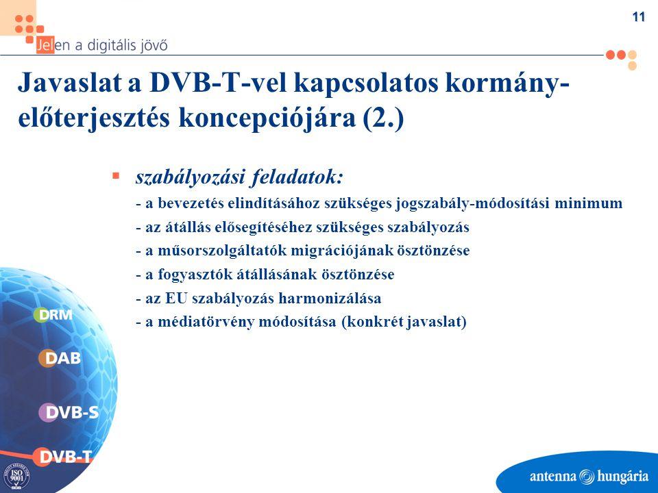 11 Javaslat a DVB-T-vel kapcsolatos kormány- előterjesztés koncepciójára (2.)  szabályozási feladatok: - a bevezetés elindításához szükséges jogszabály-módosítási minimum - az átállás elősegítéséhez szükséges szabályozás - a műsorszolgáltatók migrációjának ösztönzése - a fogyasztók átállásának ösztönzése - az EU szabályozás harmonizálása - a médiatörvény módosítása (konkrét javaslat)
