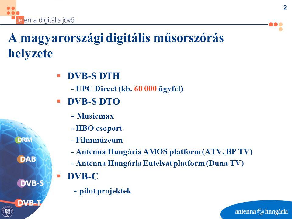 3 Az Antenna Hungária digitális műsorszóró tevékenységei  DVB-S AMOS digitális platform - 2002-ben befejezett felújítás (új kódolók, teljes automatikus tartalék) - 2002-ben kiegészítés NagraVision feltételes hozzáférési (CAS) lehetőséggel Eutelsat digitális platform - 2003-ban részleges felújítás (új kódolók, kiegészítő eszközök vásárlása)  DAB - Kísérleti sugárzás Budapest területén - 2002- ben fejállomás rekonstrukció  DRM - Fejlesztési forrás esetén hazai kísérleti adások beindítása középhullámú frekvencián