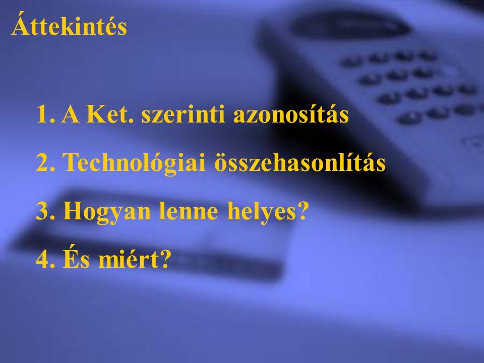 Áttekintés 1. A Ket. szerinti azonosítás 2. Technológiai összehasonlítás 3. Hogyan lenne helyes? 4. És miért?