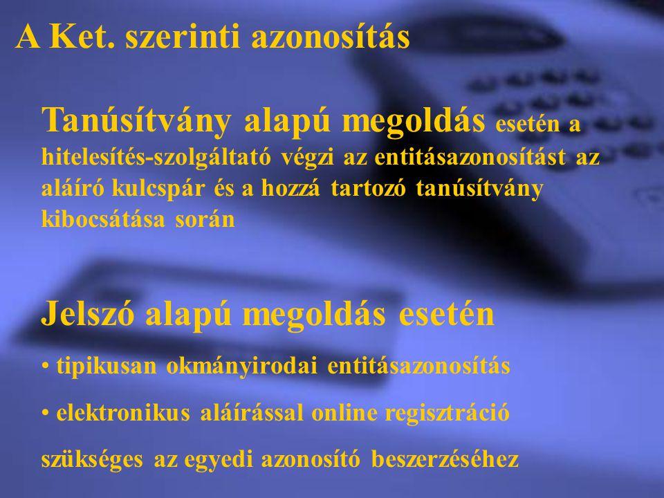 A Ket. szerinti azonosítás Jelszó alapú megoldás esetén tipikusan okmányirodai entitásazonosítás elektronikus aláírással online regisztráció szükséges