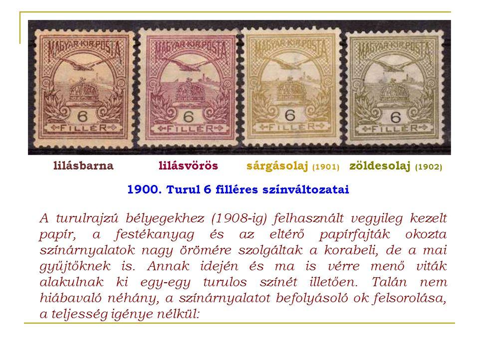 A turulrajzú bélyegekhez (1908 ‑ ig) felhasznált vegyileg kezelt papír, a festékanyag és az eltérő papírfajták okozta színárnyalatok nagy örömére szol