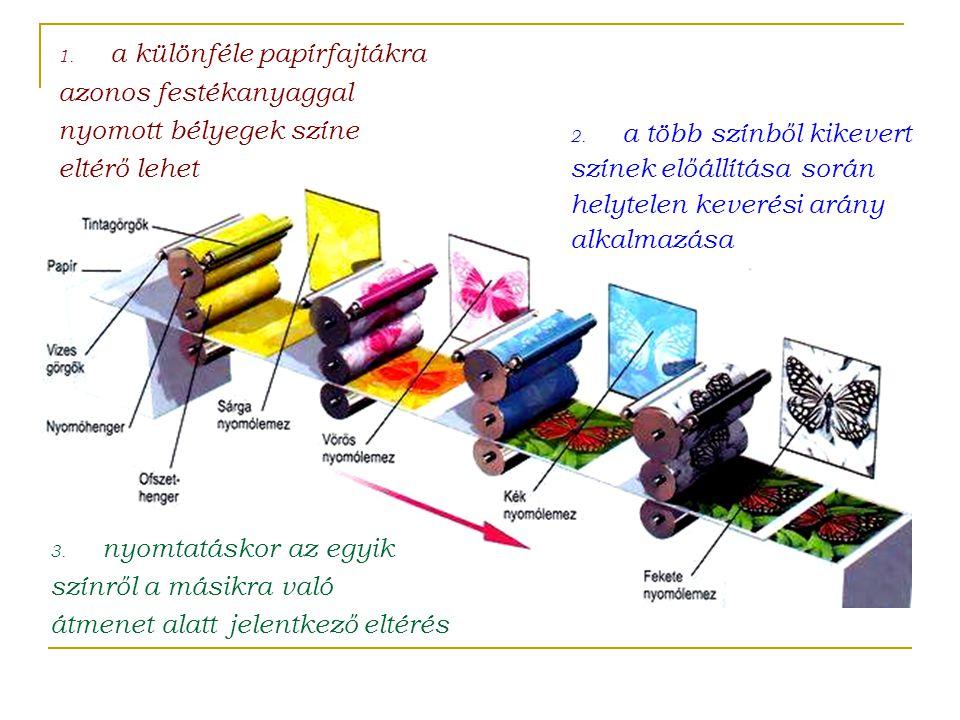 3. nyomtatáskor az egyik színről a másikra való átmenet alatt jelentkező eltérés 1. a különféle papírfajtákra azonos festékanyaggal nyomott bélyegek s