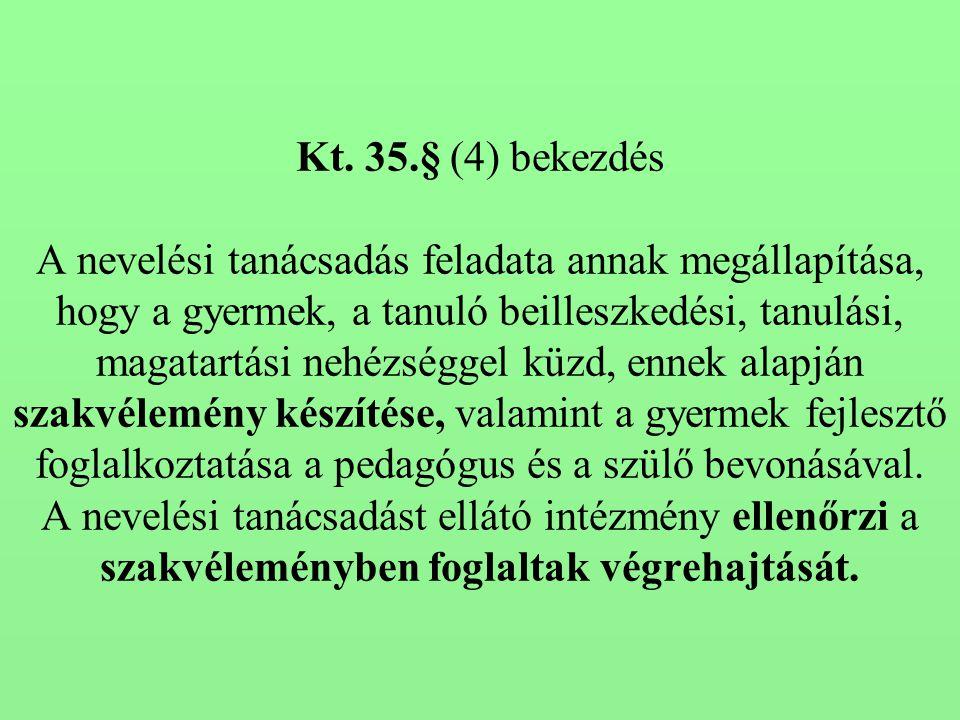 Kt. 35.§ (4) bekezdés A nevelési tanácsadás feladata annak megállapítása, hogy a gyermek, a tanuló beilleszkedési, tanulási, magatartási nehézséggel k