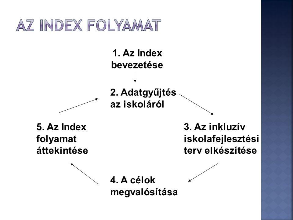 1. Az Index bevezetése 2. Adatgyűjtés az iskoláról 3. Az inkluzív iskolafejlesztési terv elkészítése 4. A célok megvalósítása 5. Az Index folyamat átt