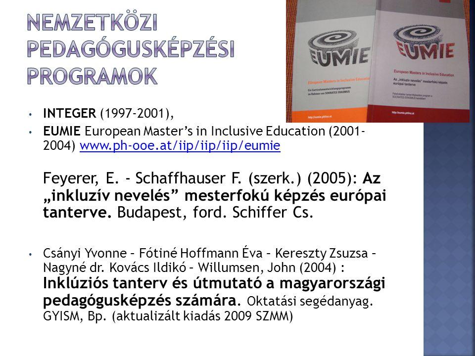 INTEGER (1997-2001), EUMIE European Master's in Inclusive Education (2001- 2004) www.ph-ooe.at/iip/iip/iip/eumie Feyerer, E. - Schaffhauser F. (szerk.
