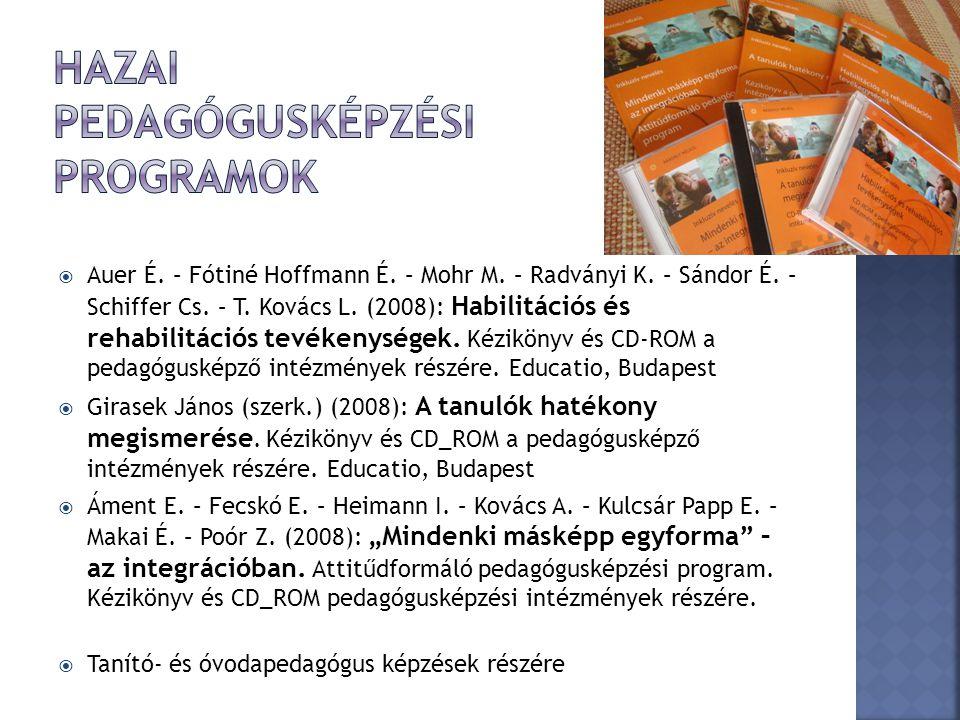  Auer É. – Fótiné Hoffmann É. – Mohr M. – Radványi K. – Sándor É. – Schiffer Cs. – T. Kovács L. (2008): Habilitációs és rehabilitációs tevékenységek.