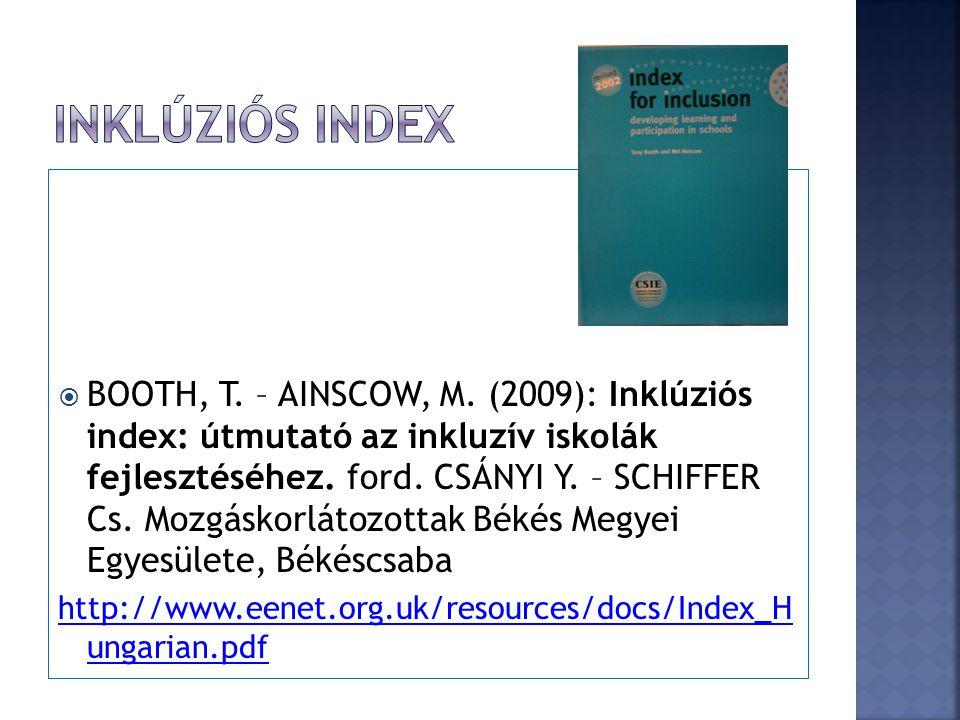  BOOTH, T. – AINSCOW, M. (2009): Inklúziós index: útmutató az inkluzív iskolák fejlesztéséhez. ford. CSÁNYI Y. – SCHIFFER Cs. Mozgáskorlátozottak Bék