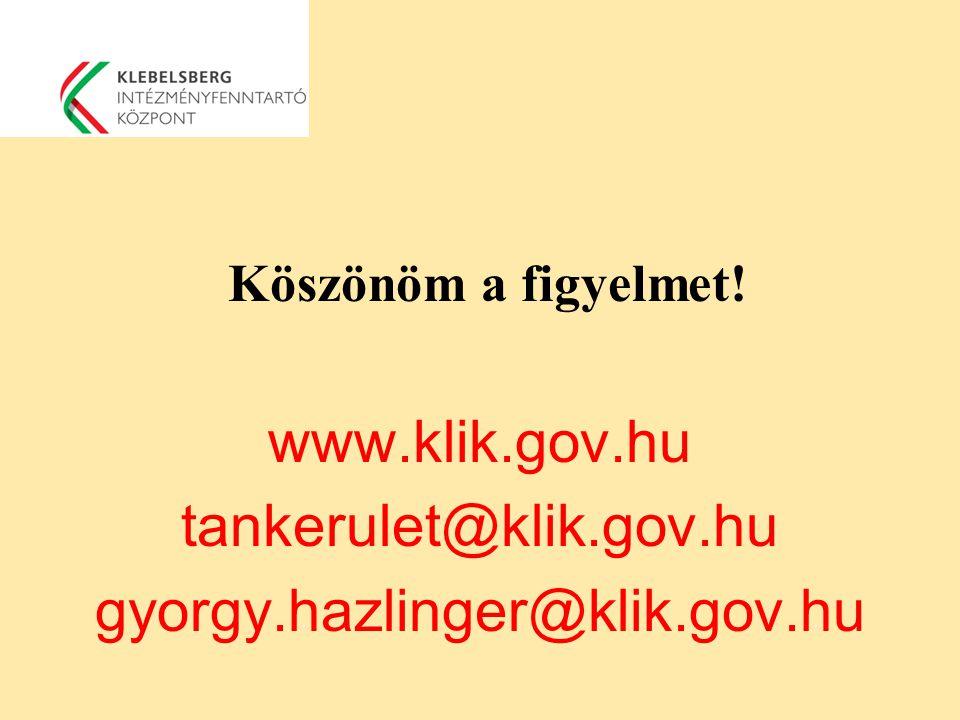 Köszönöm a figyelmet! www.klik.gov.hu tankerulet@klik.gov.hu gyorgy.hazlinger@klik.gov.hu