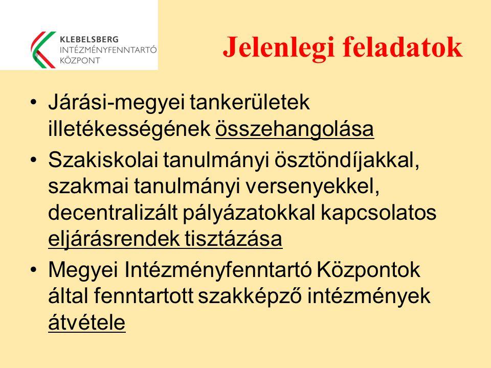 Jelenlegi feladatok Járási-megyei tankerületek illetékességének összehangolása Szakiskolai tanulmányi ösztöndíjakkal, szakmai tanulmányi versenyekkel,