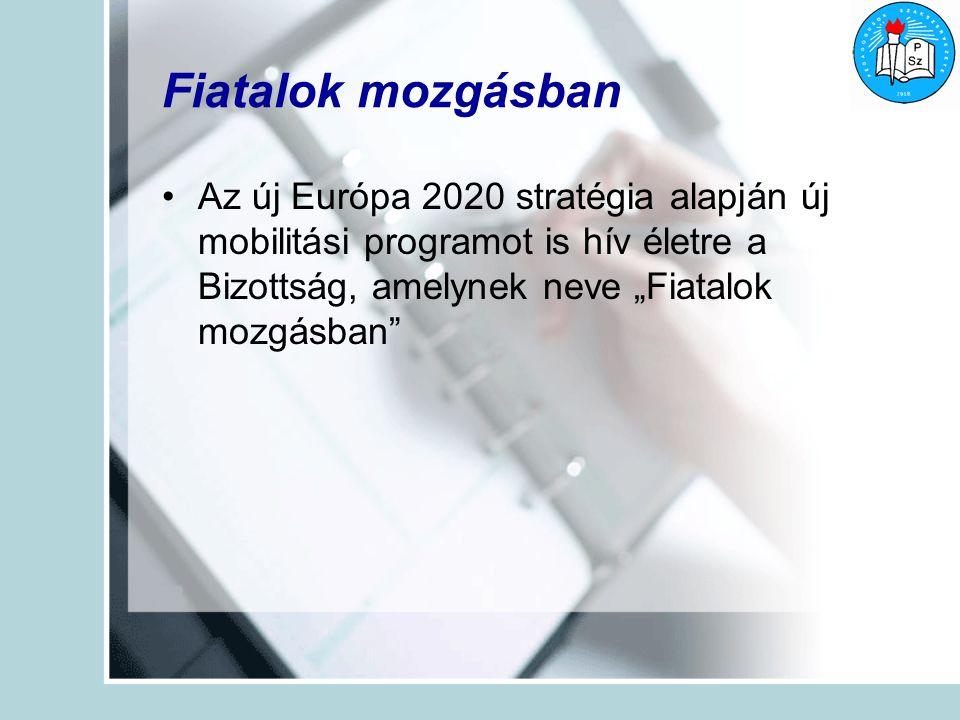 """Fiatalok mozgásban Az új Európa 2020 stratégia alapján új mobilitási programot is hív életre a Bizottság, amelynek neve """"Fiatalok mozgásban"""
